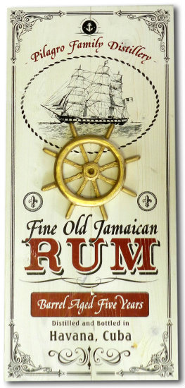 Personalized Rum Vintage Wood Planked Bar Sign with a 3D Gold Captains Wheel Relief