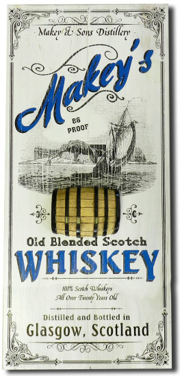 Personalized Scotch Whiskey Vintage Wood Planked Bar Sign with a 3D Barrel Relief