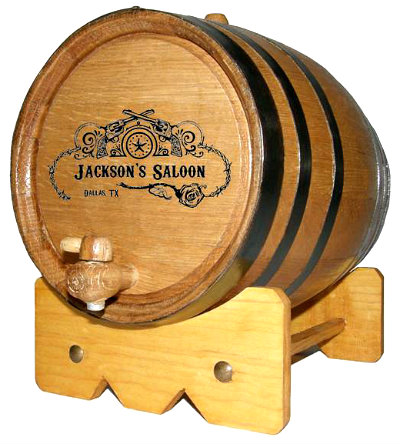 Personalized Saloon Mini Oak Barrel