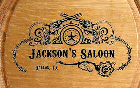 Personalized Saloon Mini Oak Barrel - Close Up