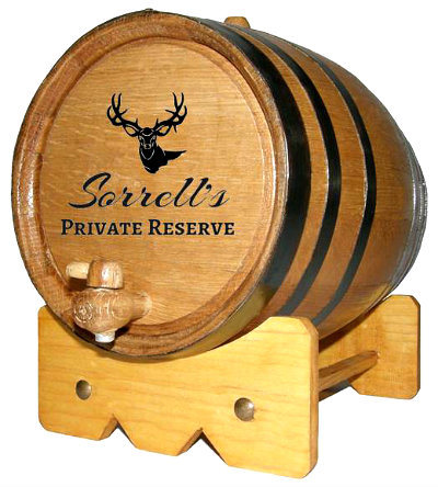 Personalized Private Reserve Small Oak Barrel with Deer