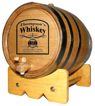 Personalized Whiskey Distillery Mini Oak Barrel with Black Steel Hoops