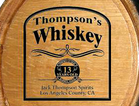 Personalized Whiskey Distillery Mini Oak Barrel with Black Steel Hoops - Close Up