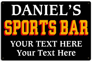 Personalized Sports Bar Metal Sign - Design Your Own Sign
