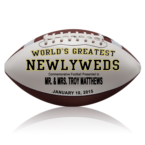 Personalized Newlyweds Football - Wedding version