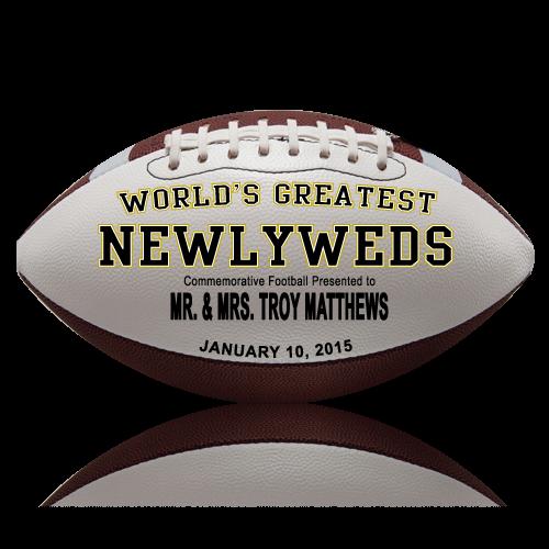 Personalized Newlyweds Football - Wedding version