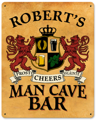 Personalized Man Cave Bar Metal Sign - Lions Crest