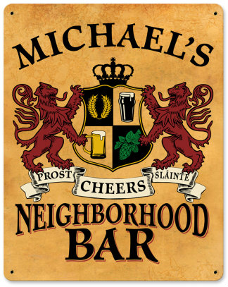 Personalized Neighborhood Bar Metal Sign - Lions Crest