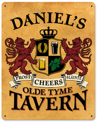 Personalized Old Tyme Tavern Metal Sign - Lions Crest
