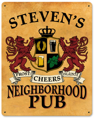 Personalized Neighborhood Pub Metal Sign - Lions Crest