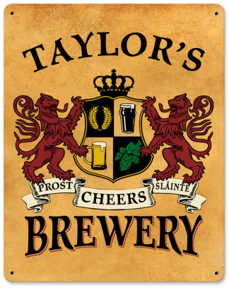 Personalized Brewery Metal Sign - Lions Crest