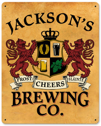 Personalized Brewing Co Metal Sign - Lions Crest