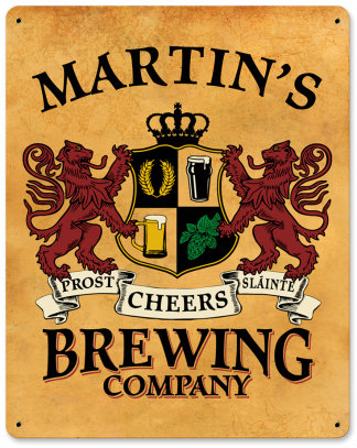 Personalized Brewing Company Metal Sign - Lions Crest
