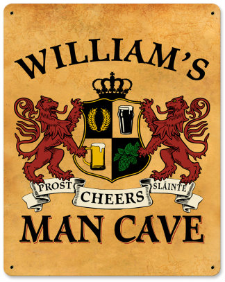 Personalized Man Cave Metal Sign - Lions Crest