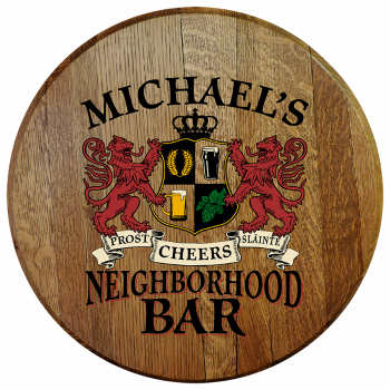 Personalized Neighborhood Bar Barrel Head Sign - Lions Crest