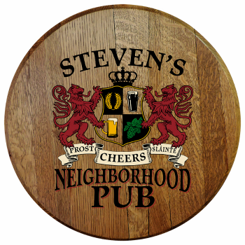 Personalized Neighborhood Pub Barrel Head Sign - Lions Crest