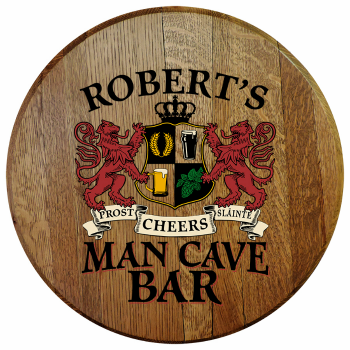 Personalized Man Cave Bar Barrel Head Sign - Lions Crest