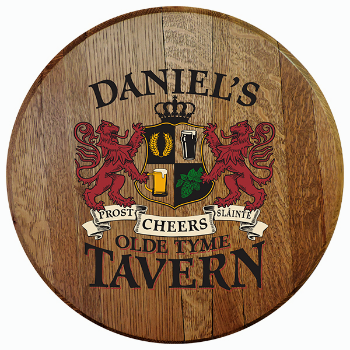 Personalized Old Tyme Tavern Barrel Head Sign - Lions Crest