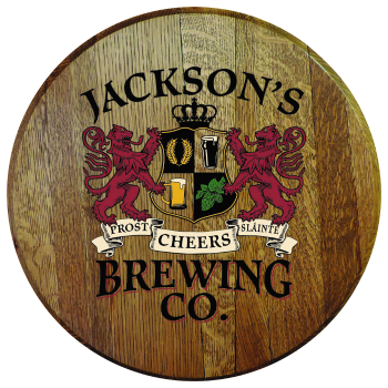 Personalized Brewing Co Barrel Head Sign - Lions Crest