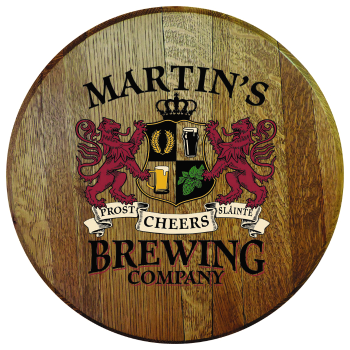 Personalized Brewing Company Barrel Head Sign - Lions Crest