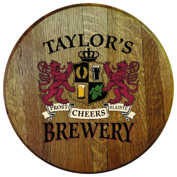 Personalized Brewery Barrel Head Sign - Lions Crest