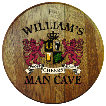 Personalized Man Cave Barrel Head Sign - Lions Crest