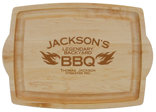Personalized BBQ Large Cutting Board with Handles - 2 flames