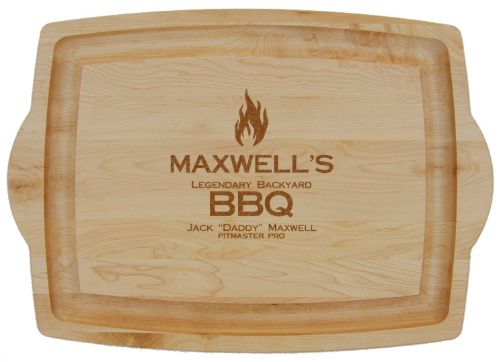 Personalized BBQ Large Cutting Board with Handles - 1 flame