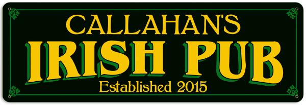 Personalized Irish Pub Metal Sign Large