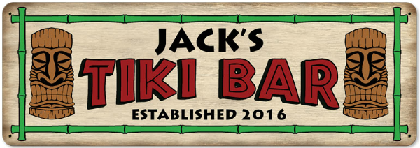 Personalized Tiki Bar Metal Sign 2 - Large