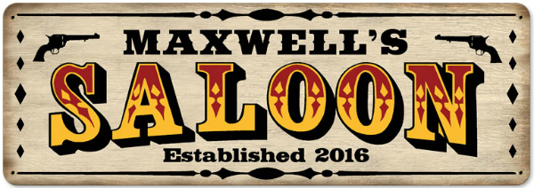 Personalized Saloon Metal Sign - Large