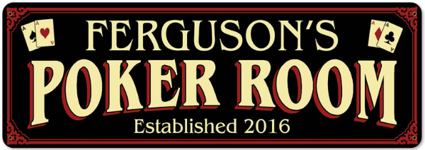 Personalized Poker Room Metal Sign - Large
