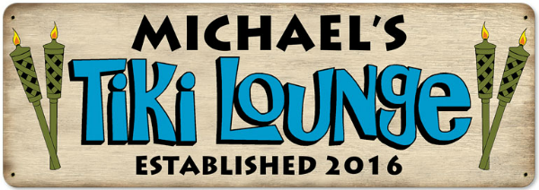 Personalized Tiki Lounge Metal Sign - Large