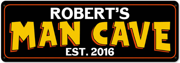 Personalized Man Cave Metal Sign - Large