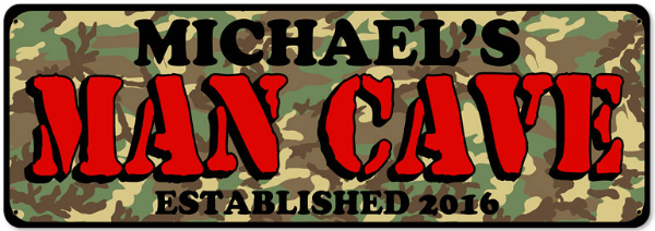 Personalized Man Cave Camouflage Metal Sign - Large