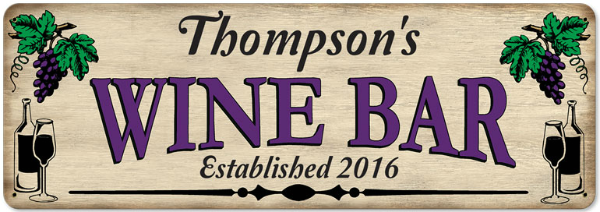 Personalized Wine Bar Metal Sign - Large