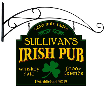 Personalized Irish Pub Metal Sign with wall mount