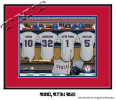Sample of the Framed & Matted MLB Locker Room Sign - Texas Rangers are shown