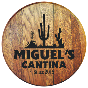 Personalized Cantina Barrel Head Sign