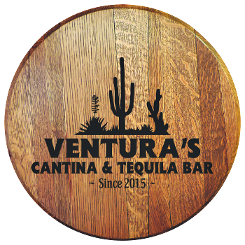 Personalized Cantina and Tequila Bar Barrel Head Sign