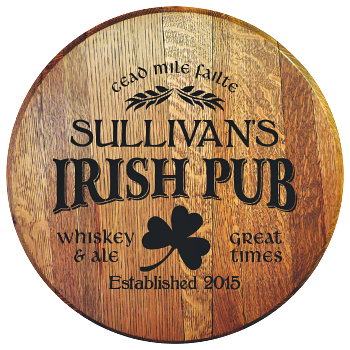 Personalized Irish Pub Barrel Head Sign