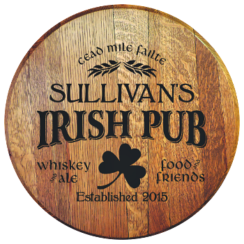 Personalized Irish Pub Barrel Head Sign - Food and Friends