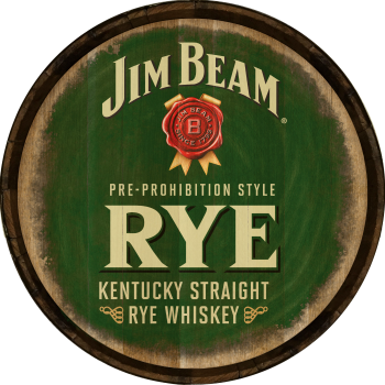 Jim Beam Rye Barrel Head Sign - Hoop Head