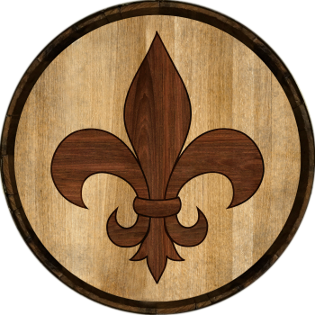 Fleur De Lis Barrel Head Sign - Hoop Head