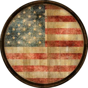 American Flag Barrel Head Sign - Hoop Head