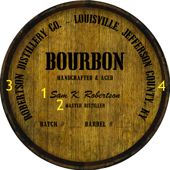 Personalized Barrel Head Sign - Bourbon Distillery Warehouse Hoop Head - Personalization Options