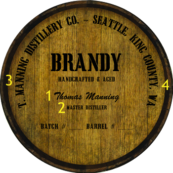 Personalized Barrel Head Sign - Brandy Distillery Warehouse Hoop Head - Personalization Options