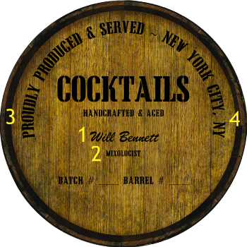 Personalized Barrel Head Sign - Cocktails Distillery Warehouse Hoop Head - Personalization Options