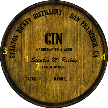 Personalized Barrel Head Sign - Gin Distillery Warehouse Hoop Head - Personalization Options