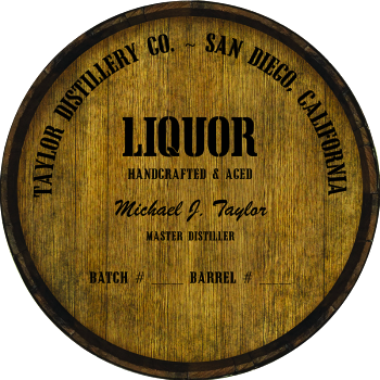 Personalized Barrel Head Sign - Liquor Distillery Warehouse Hoop Head